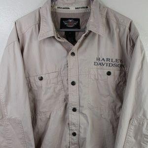 Harley Davidson Mens Size XL Gray Snap Front